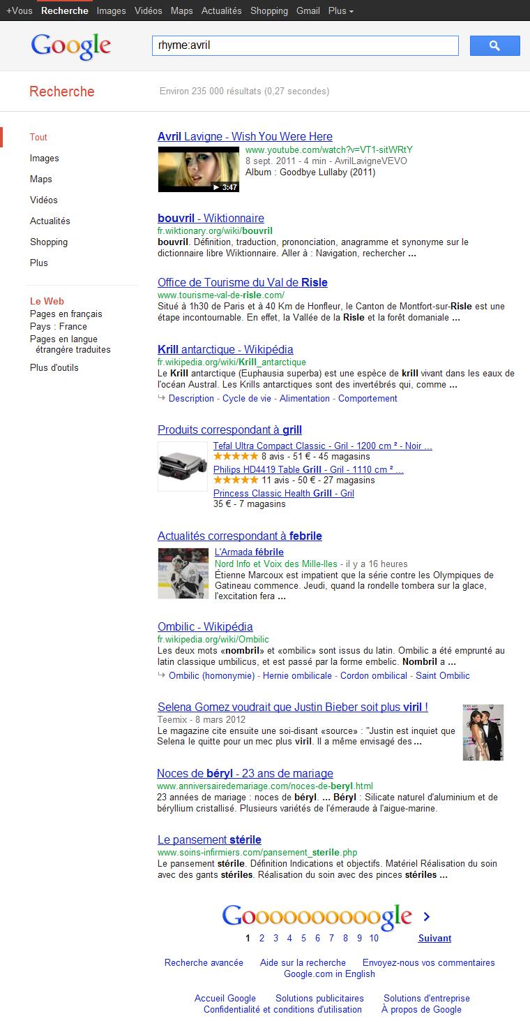 Google Rime exemple 2