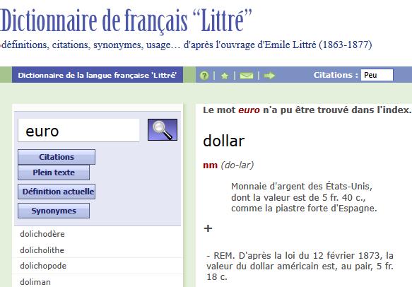 Page EURO du Littré