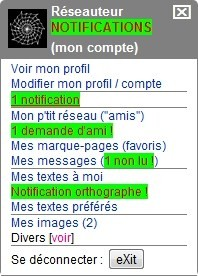 "L'onglet ""mon compte"""