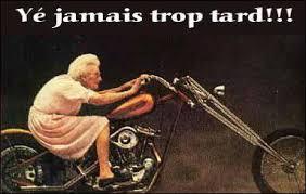 """Vieux motard, queue jamais."""